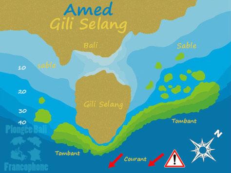 La carte du site de plongée Gili Selang à Amed, Bali.