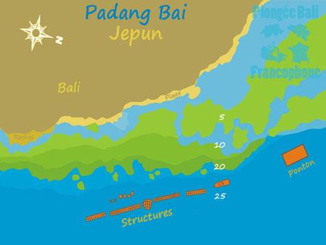La carte du site de plongée de Jepun à Padang Bai, Bali.