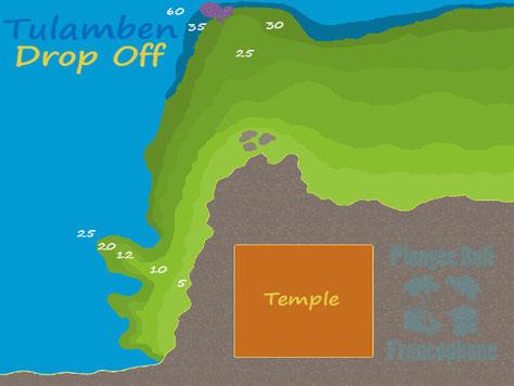 Carte du site de plongée Drop off ou le tombant de Tulamben, Bali.