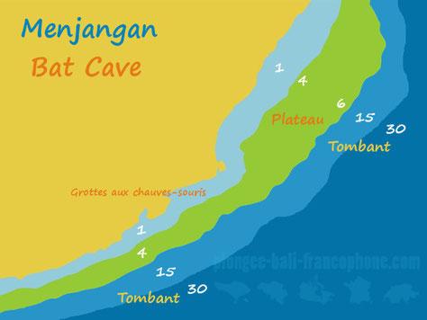 Carte du site de plongée Bat Cave à Menjangan, Bali.