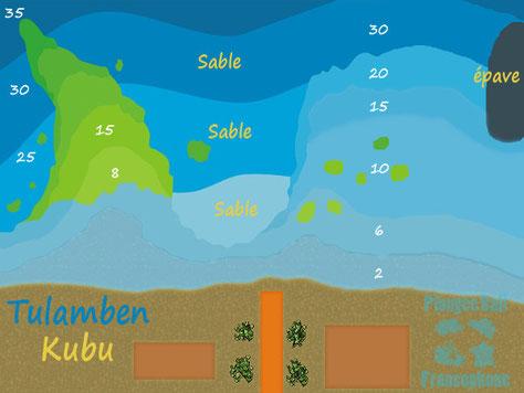 Carte du site de plongée de Kubu à Tulamben, Bali.