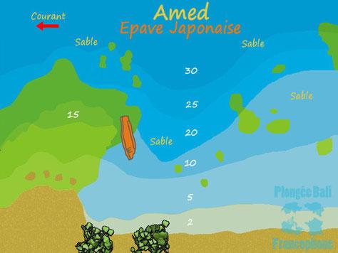 La carte du site de plongée Epave Japonaise à Amed, Bali.