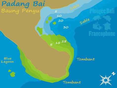 La carte du site de plongée Baung Penyu, Drop Off, à Padang Bai, Bali.