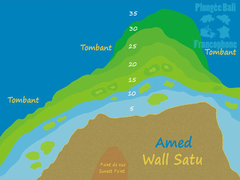 la carte du site de plongée Wall Satu, Drop Off, le tombant, le mur de Amed, Bali