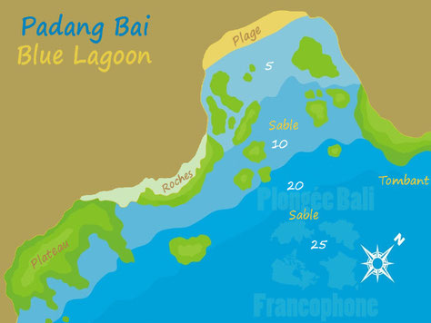 La carte du site de plongée de blue lagoon à Padang Bai, Bali.