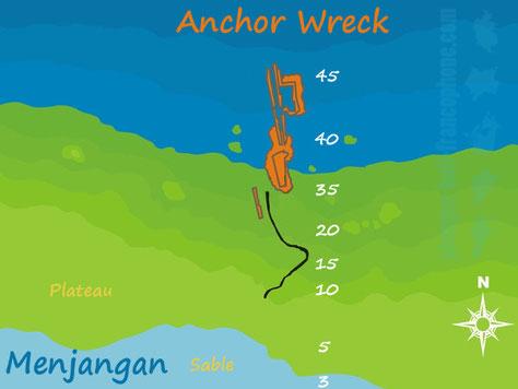 Carte du site de plongée Anchor Wreck à Menjangan, Bali.