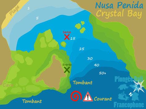 Carte du site de plongée de Crystal Bay à Nusa penida, Bali. Rencontre avec le poisson lune Mola Mola.