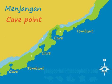 La carte du site de plongée de Cave point à Menjangan, Bali.