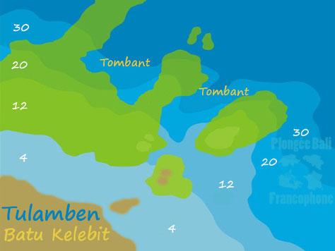 carte du site de plongée de Batu Kelebit à Tulamben, Bali, Indonésie.