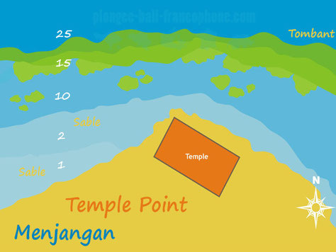 Carte du site de plongée Temple point à Menjangan, Bali.