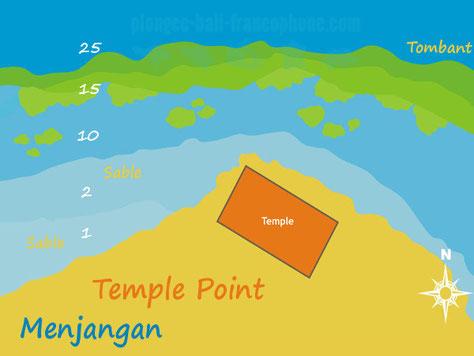 Carte du site de plongée Temple point à Menjangan, Bali.
