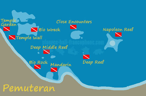 Carte des sites de plongée de Pemuteran, Bali.