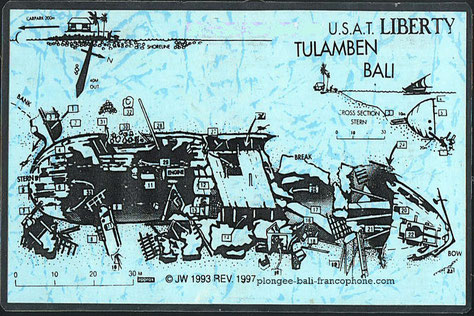 Carte de l'épave USAT Liberty à Tulamben, Bali.