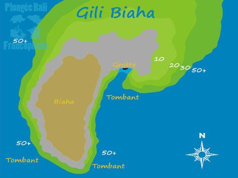 La carte du site de plongée de Gili Biaha, Padang Bai, proche de Candi Dasa, Bali.
