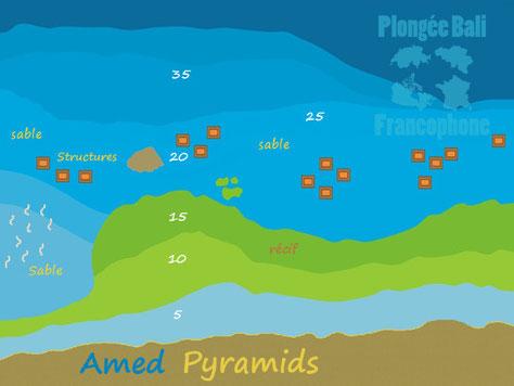 La carte du site de plongée pyramides à Amed, Bali.