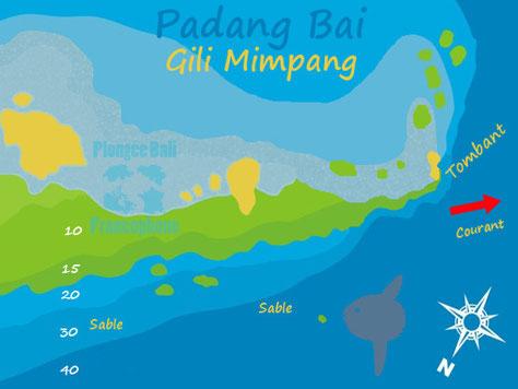 La carte du site de plongée de Gili Mimpang à Padang Bai, Bali.