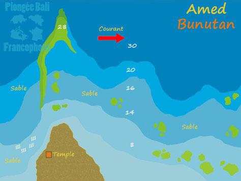 La carte du site de plongée Bunutan à Amed, Bali.