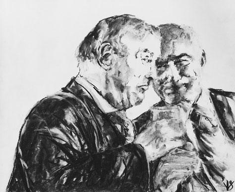 2.  The gossipers,         (Les potins )         35 x 43 cm.         2018