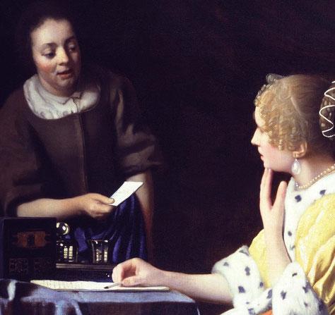 Jan Vermeer van Delft, Herrin mit Dienerin und Brief (Ausschnitt), 1666/67, Öl auf Leinwand, The Frick Collection, New York