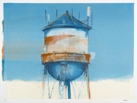 """Over Georgetown"", monotype/graphite, Stephen A MacFarlane"