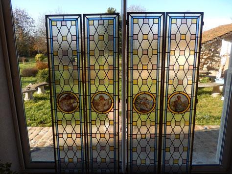 vitraux quatre saisons  art nouveaux