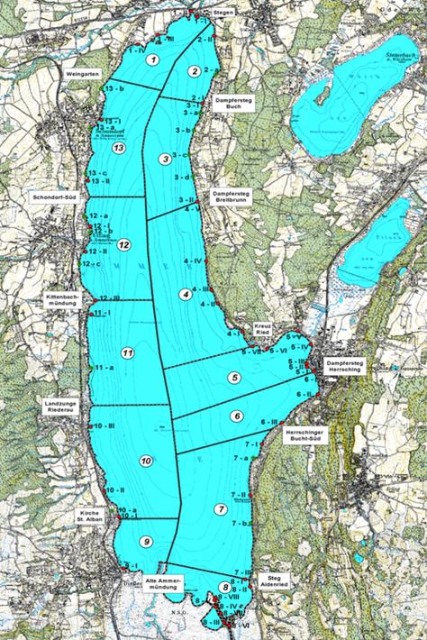 Abbildung 1: Abschnittseinteilung des Ammersees (RAMSAR-GEBIETSBETREUUNG AMMERSEE 2002)
