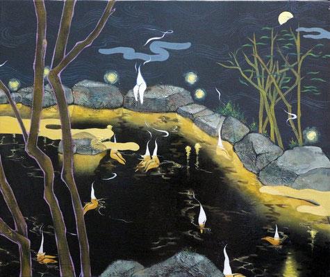 月見温泉 F8号 キャンバス・油絵具