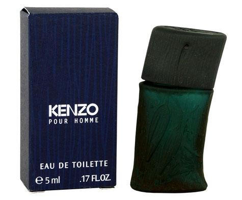 KENZO POUR HOMME - EAU DE TOILETTE 5 ML - FLACON EN VERRE AVEC NERVURES ET FEUILLES EN RELIEF