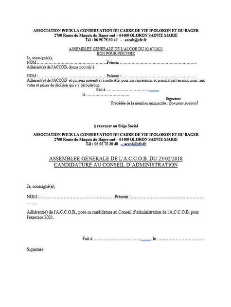 Imprimer le formulaire pour l'AG : Pouvoir / candidature