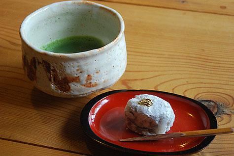 お抹茶(手作り菓子付き)菓子は餡子からすべて手作りです。