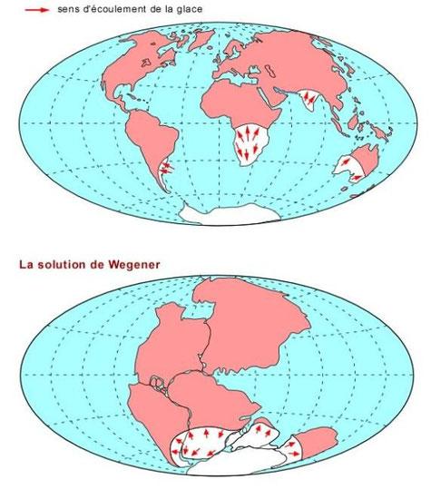 Une autre solution proposée par Wegener pour expliquer la présence de sédiments glaiciaires. Sources: http://www2.ggl.ulaval.ca/