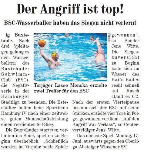 BSC-Wasserballer haben das Siegen nicht verlernt. Neue Buxtehuder Wochenblatt vom 15.06.2013