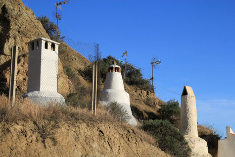 The chimneys of the cave houses in Purullena