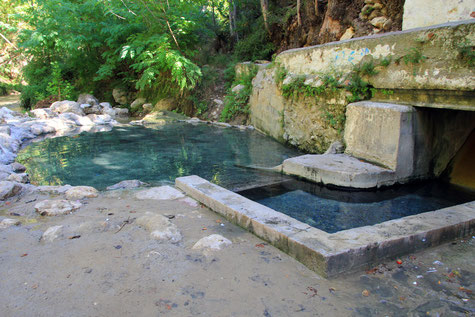 The hot spring next to the river