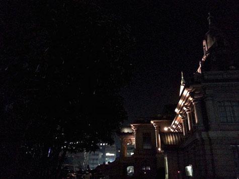 夜の築地本願寺 側面