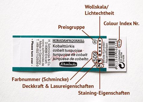 Schmincke HORADAM Aquarell: Was ihr am Etikett ablesen könnt