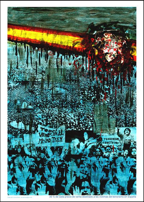 Verkauf von Postern zugunsten der Opfer des Terrorismus in Spanien