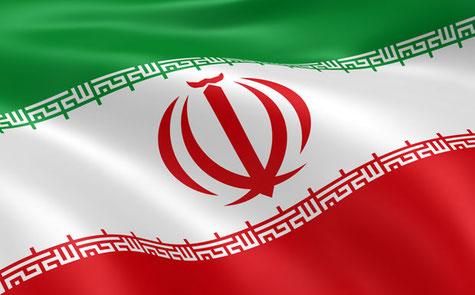 Flagge der Islamischen Republik Iran. Mit rund 80 Millionen Einwohnern und einer Fläche von 1.648.195 Quadratkilometern zählt der Iran zu den 20 bevölkerungsreichsten und größten Staaten der Erde.