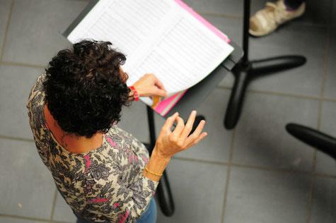 Ecole de musique EMC à Crolles - Grésivaudan : professeur lors d'une répétition d'orchestre.