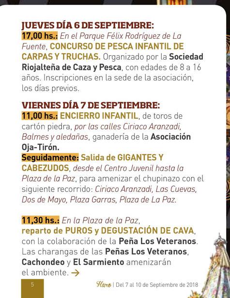 Fiestas de Haro Virgen de la Vega Programa