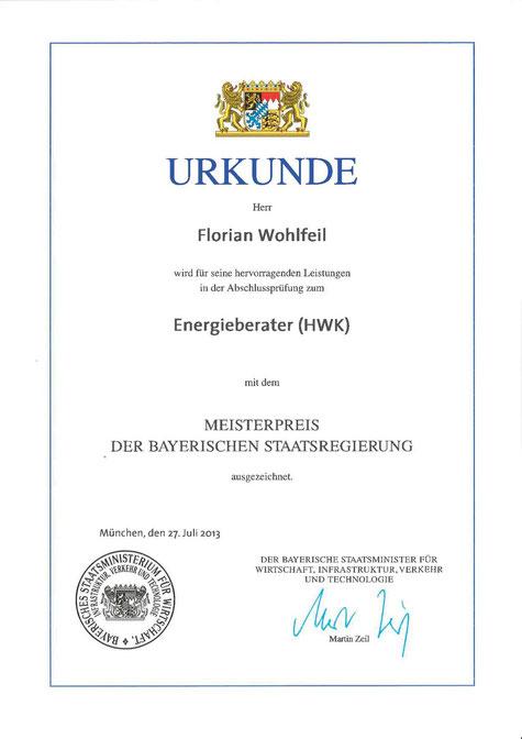 florian wohlfeil meisterpreis der bayerischen staatsregierung energieberater (HWK)