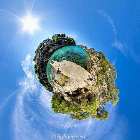 Belichtungsreise, Little Planet, Cala Pi, Mallorca, Strand, Kugelpanorama, Panorama, 360 Grad, 360 Grad Panorama, schönste Bucht Mallorca, Bucht