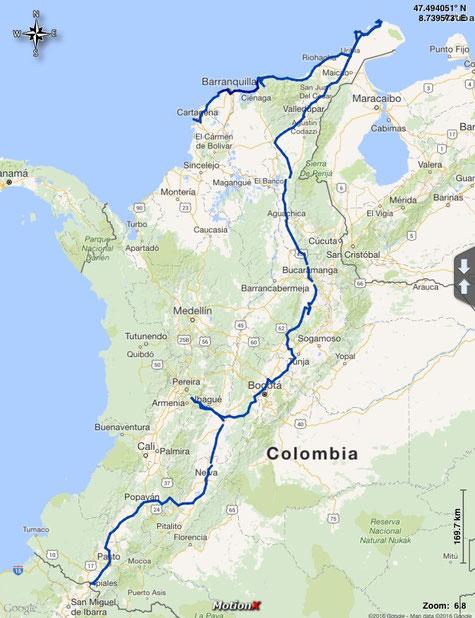 gefahrene Route durch Kolumbien