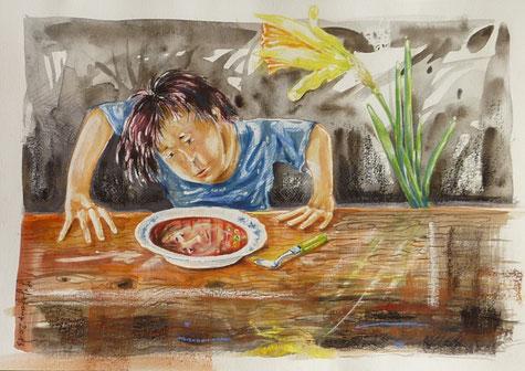 gouache sur le thème de la nourriture pour le concours de l'Echaudé