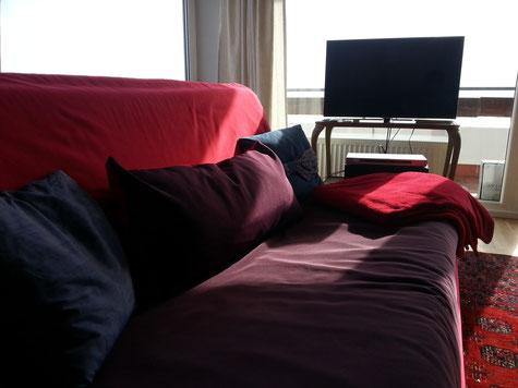 Couch und LED-Fernseher