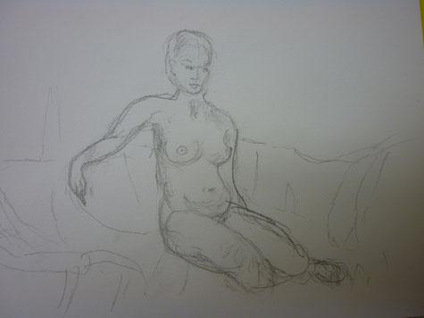 Bleistiftskitze - Frauenakt-  8/ 2014