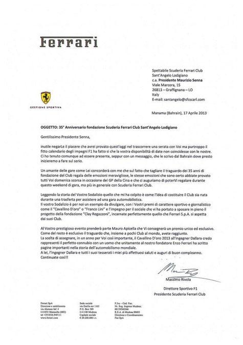 La lettera dal Direttore Sportivo F1 - Massimo RIVOLA