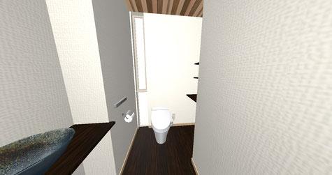 シンプル、和テイストのトイレ。