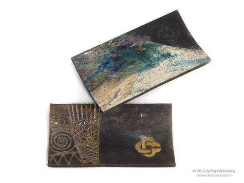 tegola portapenne in ceramica raku  personalizzata