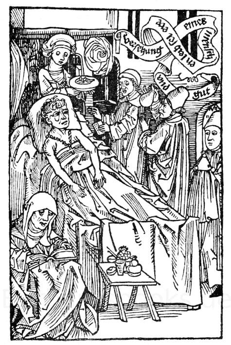 """Geistlicher und Arzt am Krankenbett. Aus der """"Versehung Leib, Seel, Ehr und Gut"""", Nürnberg 1489."""